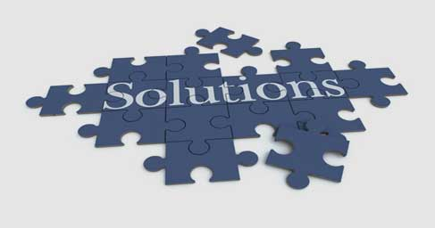 Solutions text as puzzle pieces