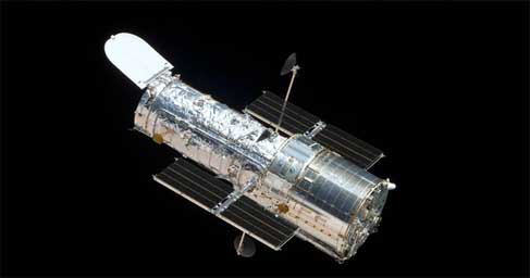 Hubble telescope in space