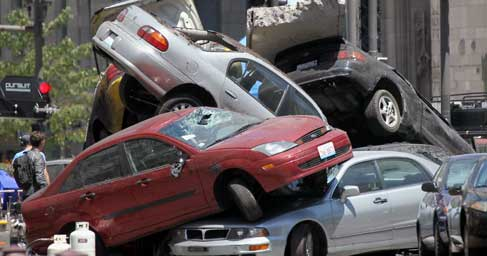 Cars stacked up in a wreck