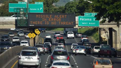 Hawaii false alarm highway sign