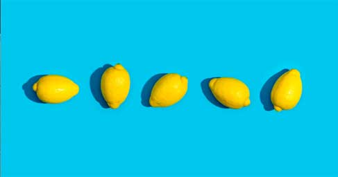 Lemons with blue background