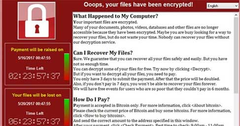 Wannacry message screen