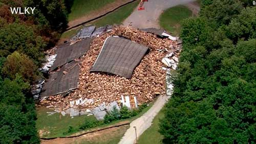 Bourbon Warehouse Collapse Compliments of WLKY